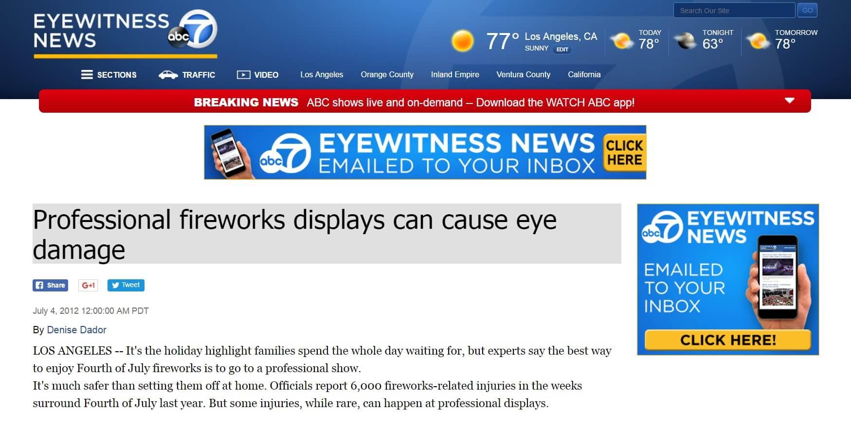Professional Fireworks Displays Can Cause Eye Damage